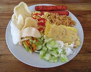 English: Nasi Goreng (Indonesian fried rice) w...