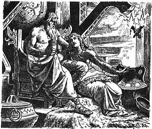 "English: ""Odin with Gunnlöd"" (1901) ..."