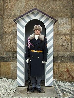 A guard outside Prague Castle - winter uniform