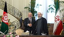 Ghani meeting with Iranian President Hassan Rouhani in Saadabad Palace