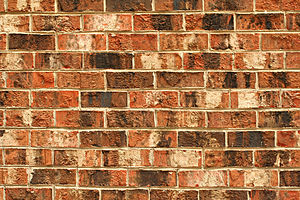 A brick wall (stretcher bond) Français : Un mu...