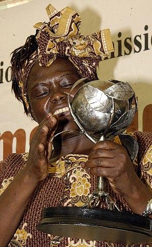 """English: """"Prof. Wangari Maathai, a Kenyan..."""
