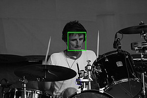The face of the man was detected by special so...