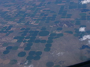 Aerial view of center pivot irrigation - taken...