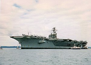 English: Aircraft carrier in Portsmouth Harbour