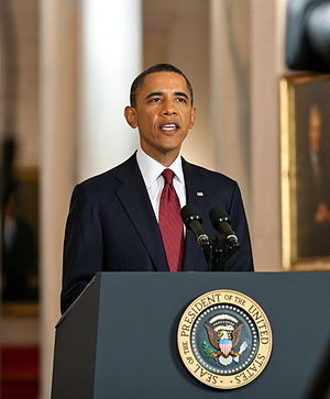 English: President Barack Obama delivers a sta...
