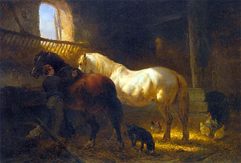 English: Horses in a Stable