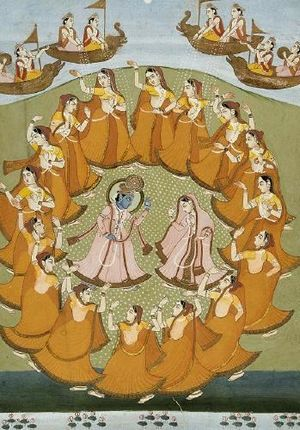 Krishna and Radha dancing the Rasalila, Jaipur...
