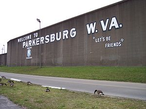 The floodwall of Parkersburg, West Virginia, a...