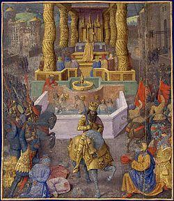 Herodes entrando em Jerusalém (36 adC). Miniatura de Jean Fouquet (entre 1470 y 1475)