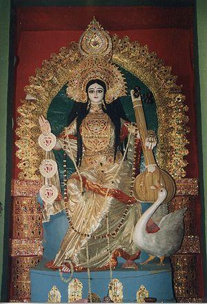 Goddess Saraswati prepared for Saraswati Festi...