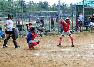 Girls little league softball demonstrating goo...