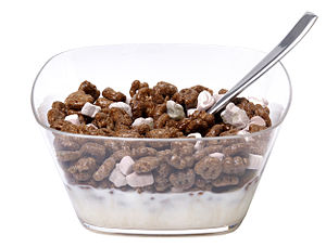 English: A bowl of Count Chocula cereal, shown...