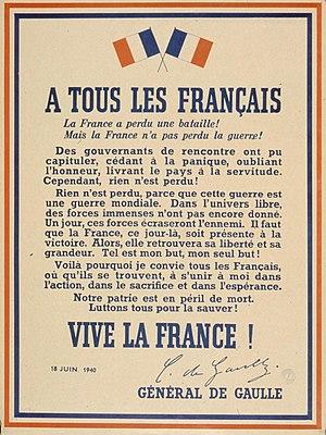 Français : De Gaulle - à tous les Français