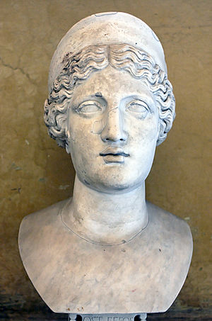 Head of Hera with diadem. Marble, Roman copy f...