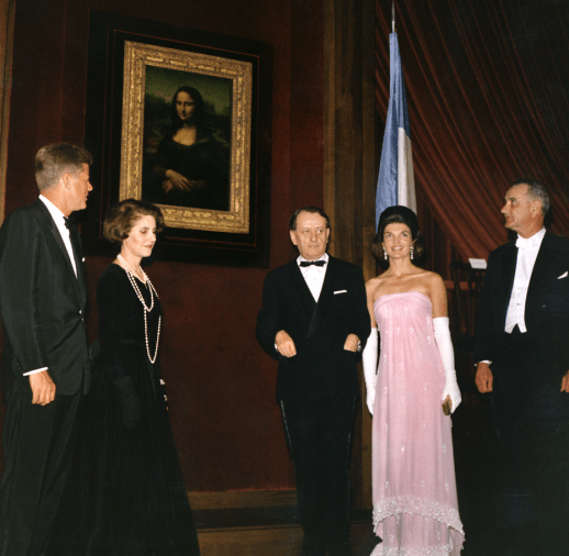 JFK, Marie-Madeleine Lioux, André Malraux, Jackie, L.B. Johnson, unveiling Mona Lisa at National Gallery of Art