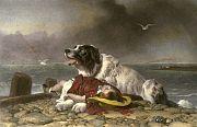 Una de sus populares y numerosas pinturas en que desarrolla el tópico del perro terranova rescatando a un niño de las aguas.