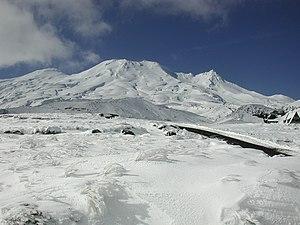 Mount Ruapehu in winter, from south side (Turoa).