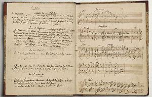 página do diário musical de Mozart