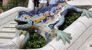 Figurine by Antoni Gaudí in Parc Güell