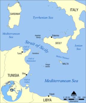 Strait of Sicily map
