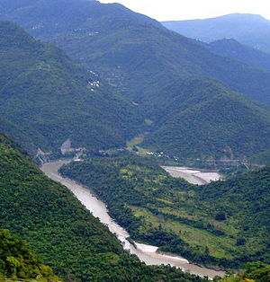 A bend in the Ganges river, Garhwal hills, Utt...