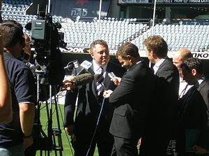 Joe Hockey in a press conference on the ground...