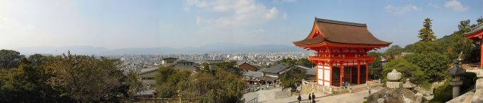 Kiyomizudera temple in Kyoto panoramic view