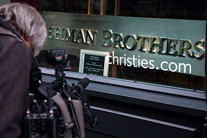 English: The Lehman Brothers company sign for ...