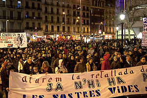 English: Demonstration in Barcelona on January...