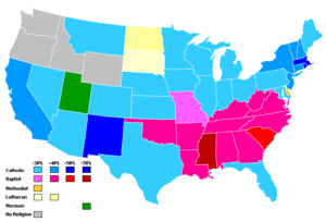 Plurality religion by state, 2001