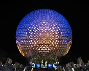 Spaceship Earth at Epcot at night.