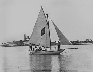 English: Boat sailing on the Brisbane River, c...