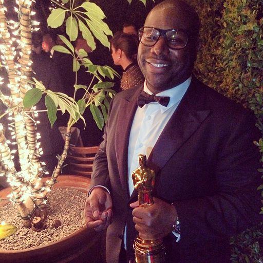 Steve McQueen holding Best Picture Oscar