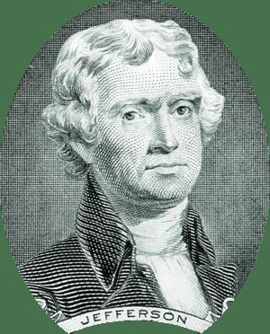 Thomas Jefferson portrait on two dollar bill