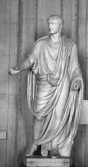 Roman emperor Tiberius (14–37 AD). Marble, fou...