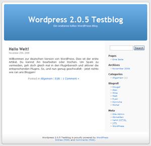Deutsch: Screenshot vom Blog-System WordPress.