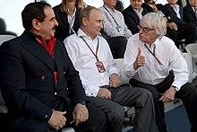 King Hamad with Russian President Vladimir Putin and British business magnate Bernie Ecclestone, Russian Grand Prix. 12 October 2014