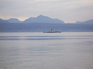 Steamboat on Lake Geneva, near Lausanne (Switz...