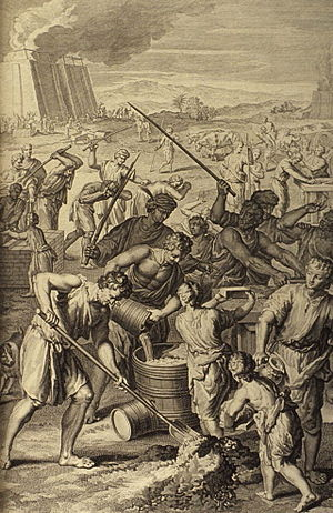 A depiction of the Hebrews' bondage in Egypt, ...