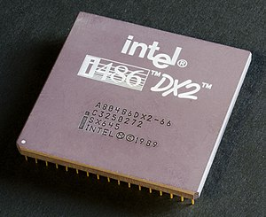 An Intel i486DX2-66 Microprocessor, top view.