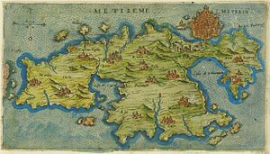 Map of Lesbos by Giacomo Franco (1597).