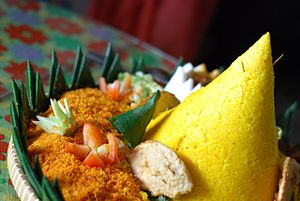 Nasi Kuning served with Serundeng
