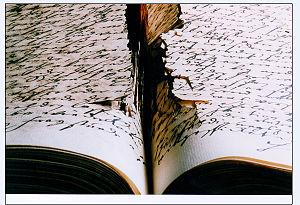 Tintenfrass an Papier Deutsch: Buchseiten mit ...