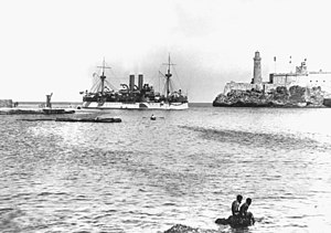 """USS """"Maine"""" entering Havana Harbor on 25 January 1898, where the ship would explode three weeks later"""
