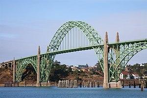 The main span of the Yaquina Bay Bridge in New...