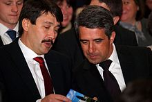 Áder and Bulgarian President Rosen Plevneliev in April 2013