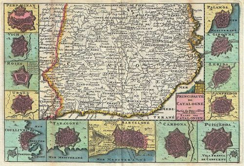 1747 La Feuille Map of Catalonia, Spain (Barcelona) - Geographicus - Catalogne-ratelband-1747