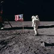Astronaut Buzz Aldrin during the first human l...