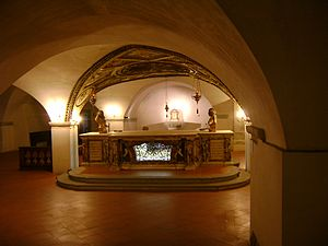 English: The crypt of the cathedral of Citta d...